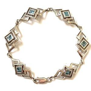 Sterling Silver Blue Topaz Bracelet 925